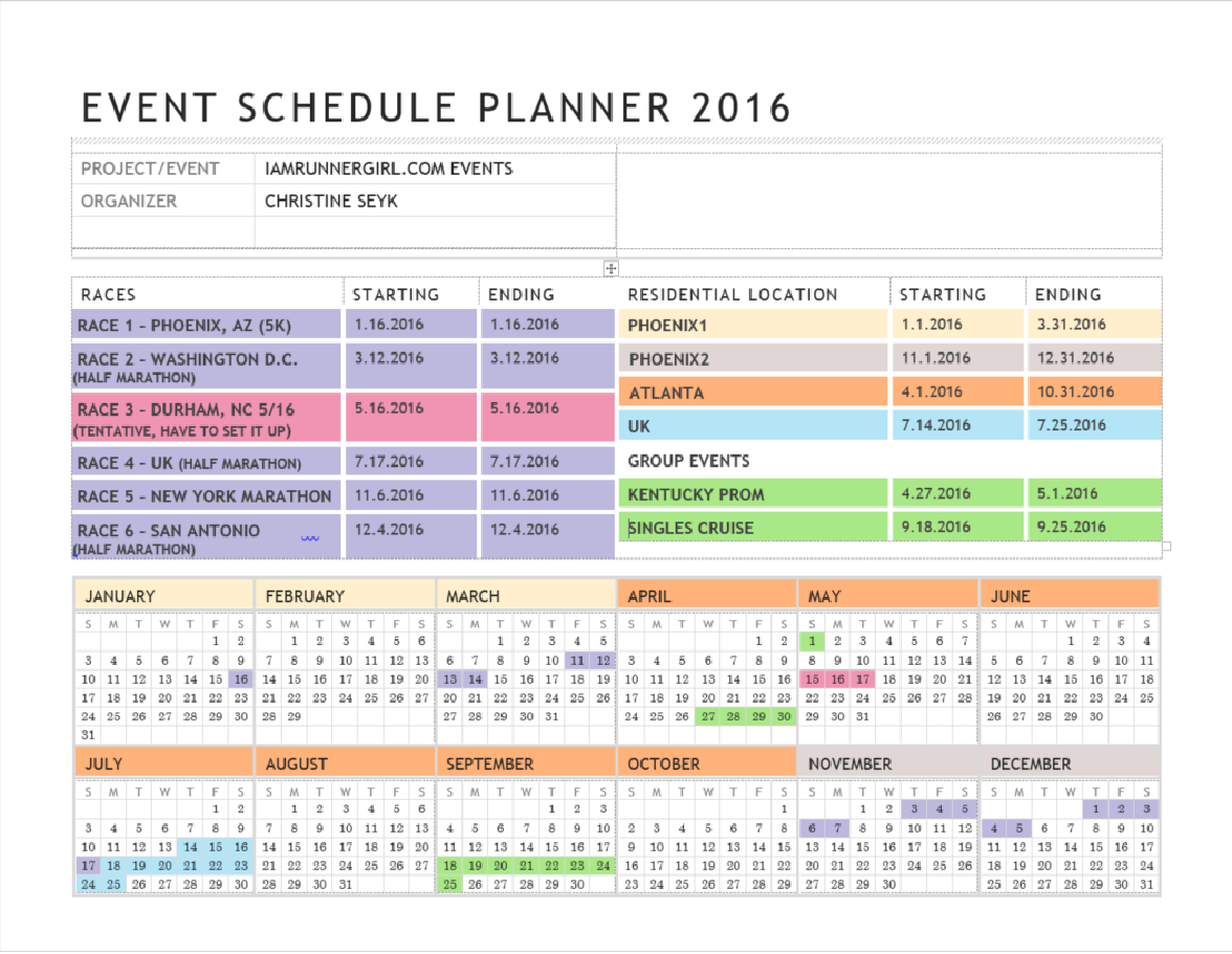 2016 Travel Schedule – IamRunnergirl